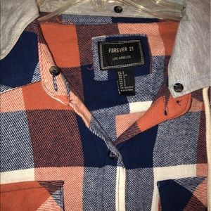 Forever 21 Plaid Hooded Flannel